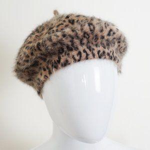 VINTAGE Leopard Mohair Beret
